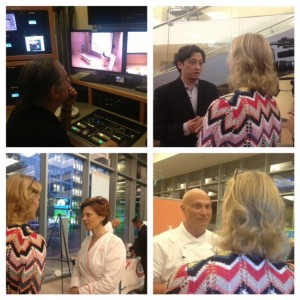 (clockwise from top left) interviewing Whole Foods representative, Richard Vallente, Legal Seafood Executive Chef, Jody Adams , Executive Chef Rialto