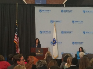 Secretary of Labor and Workforce Development Rachel Kaprielian explained the background of the 'Corporate Challenge'